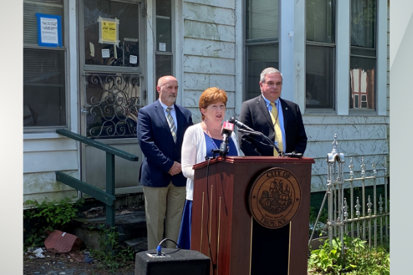 Zombie Property Presser - July 28, 2021 Pictured Left to Right: Troy Mayor Patrick Madden, Albany Mayor Kathy Sheehan, and Schenectady Mayor Gary McCarthy.