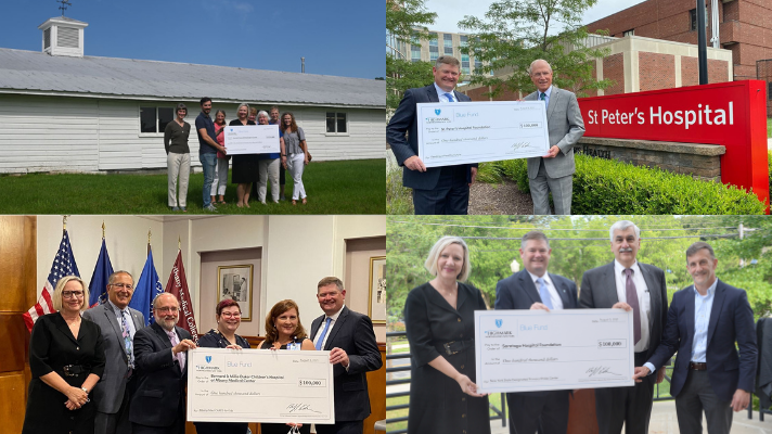2021 Blue Fund grant recipients (Pictured left to right: Comfort Food Community of Washington County, St. Peter's Hospital Foundation, Bernard & Millie Duker Children's Hospital at Albany Med, Saratoga Hospital Foundation.)