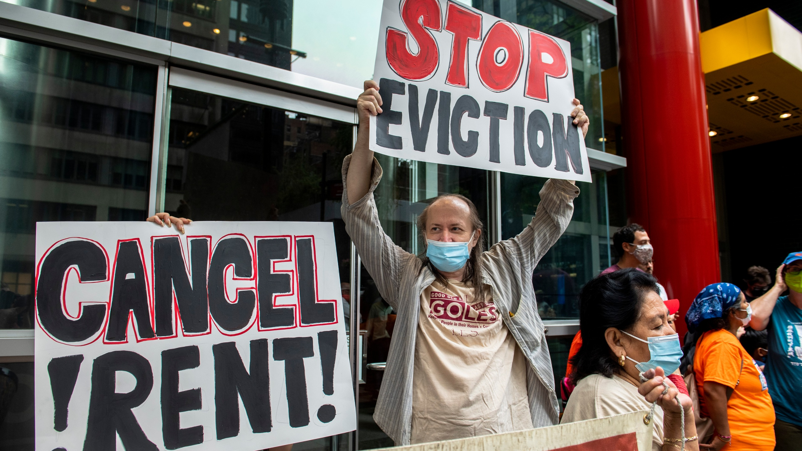 In this Aug. 4, 2021, file photo, housing advocates protest on the eviction moratorium in New York. Roughly 3.5 million people in the United States said they faced eviction in the next two months, according to Census Bureau data from early August. (AP/Brittainy Newman)