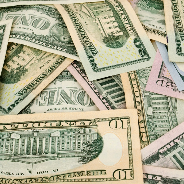 American money cash dollars are scattered generic