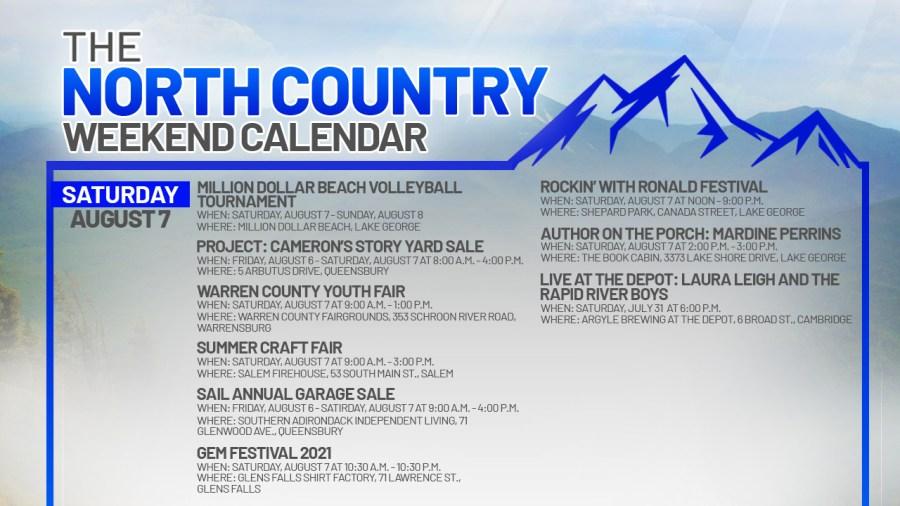 NORTH COUNTRY WEEKEND CALENDAR_SATURDAY AUGUST 7