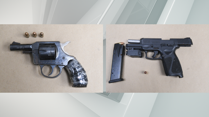 Two loaded handguns recovered by APD officers Wednesday, August 4, 2021.