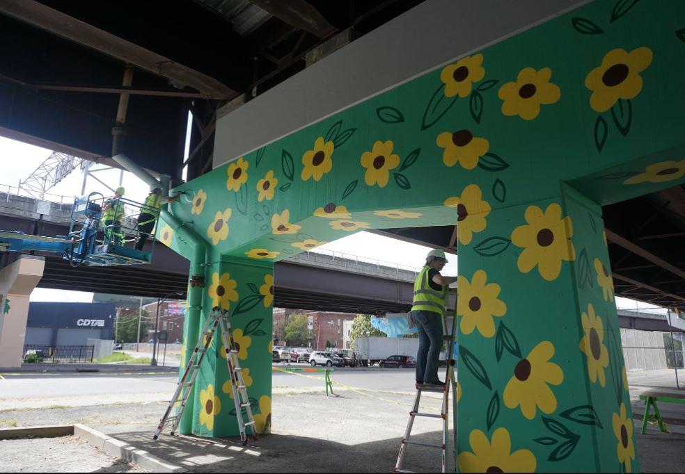 Artist Jade Warrick's murals to life beneath the Hoosick Street underpass with #TheUniteLine Project, Facebook